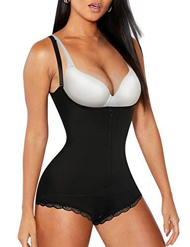 Nebility Women Waist Trainer Bodysuit Slim Zipper Shapewear Latex Open Bust Corset Lace Panty (M, Black)