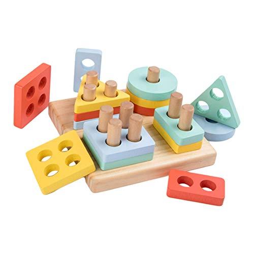 happygirr Holz Pädagogisches Spielzeug Holzblöcke Puzzles Montessori Geometrisches Spielzeug Steckwürfel Puzzle Förderung von Formerkennung und Konzentration