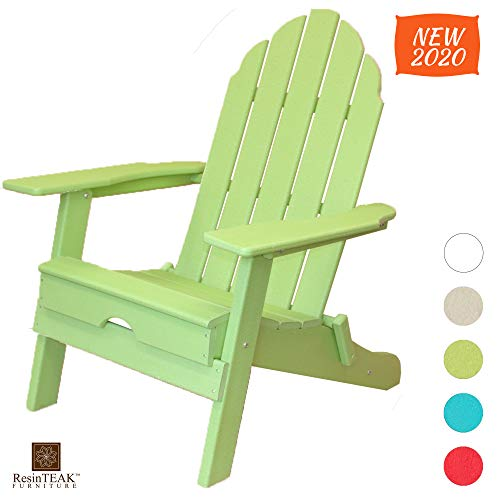 ResinTEAK Plastic Folding Adirondack Chair | Adult-Size, Weather Resistant for Patio Deck Garden, Backyard & Lawn Furniture | Easy Maintenance & Classic Adirondack Chair Design (Green)