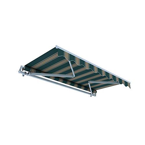 jarolift Gelenkarmmarkise Basic Plus Balkonmarkise Sonnenschutz für Terrasse, 450 x 350 cm, Braun-Grün Multistreifen