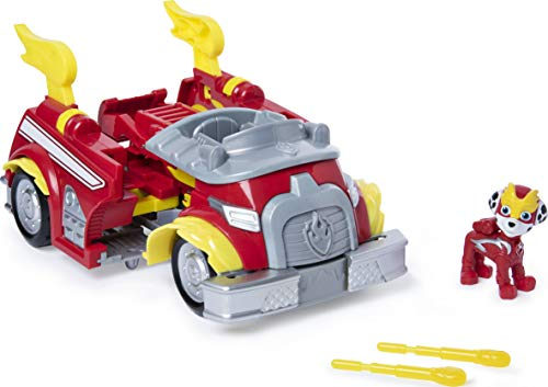 PAW Patrol 6053686 - Mighty Pups Super Paws - Marshalls verwandlungsfähiges Powered Up Fahrzeug mit Figur