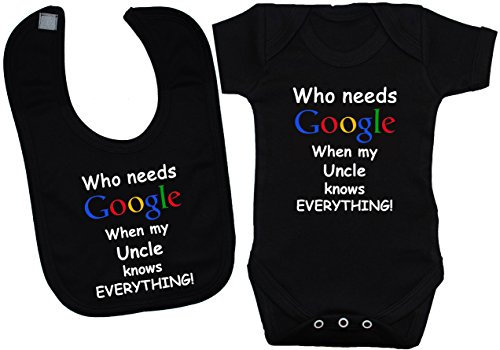 Acce Products Body pour bébé Inscription Who Needs Google When My Uncle Knows Everything - Noir - S