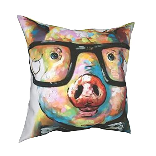 Gorgeous Socks Funda de cojín cuadrada decorativa para el hogar, con cremallera invisible, lavable a máquina, pintado a mano, lindo cerdo
