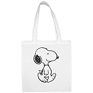 Snoopy Reusable Cotton Shopping Tote Bag Foldable Grocery Organic Eco-Friendly Gift Bag Long Handle:Hashflur