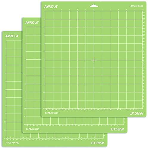 UNDISE - Alfombrilla de corte de agarre estándar para Cricut Maker/Explore Air 2/Air/One (30 x 30 cm, 3 esteras) adhesivo estándar adhesivo verde para cortar Cricut