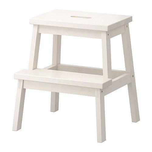 Ikea Tritthocker in weiß aus Massivholz Bekvam-Taburete de Madera Maciza, Color Blanco, 50 cm