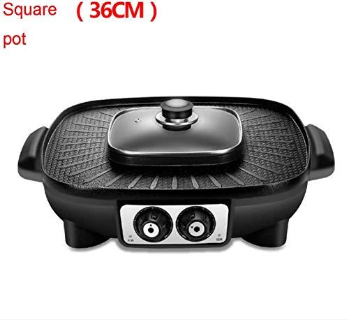 Wzmdd BBQ elektrische grill met Hot Pot 2 in 1 zonder Fumo grillrooster voor thuis, niet plakken tapanyaki warmplaat