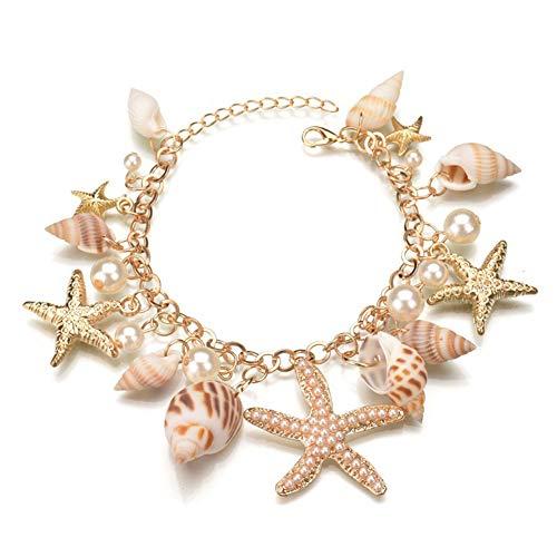Halawly Shell Necklace Choker Mermaid Tail Bracelet - Fashion Sea Shell Starfish Faux Pearl Collar Bib Statement Chunky Necklace PendantBracelets