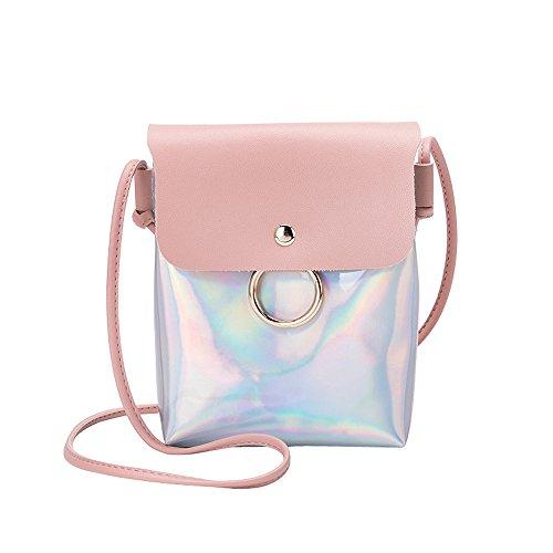 Zolimx Portable diagonal kleine quadratische Tasche Umhängetasche Handtasche, Frauen Mode Laser Cover Ring Haspe Umhängetasche Schultertasche Münztelefon Tasche (Rosa)