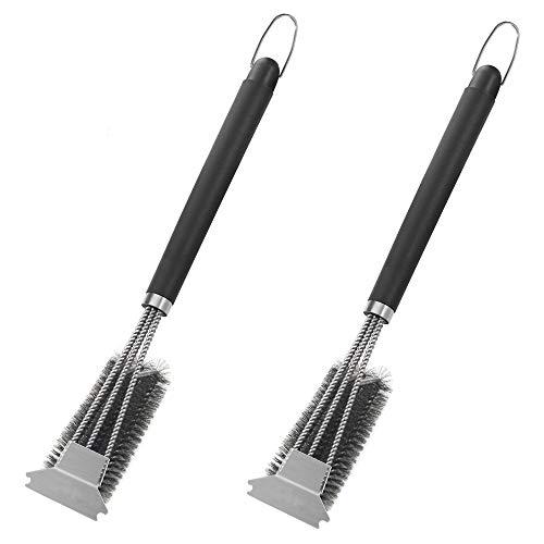 Cuyc - Fil d'acier inoxydable - Pour barbecue à ressort - Pour le nettoyage des branches 45.8cm Noir (2 pièces).