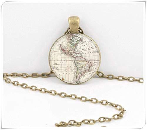 Halskette mit Anhänger, antiker Landkarte, Nord- und Südamerika, Westhalbkugel