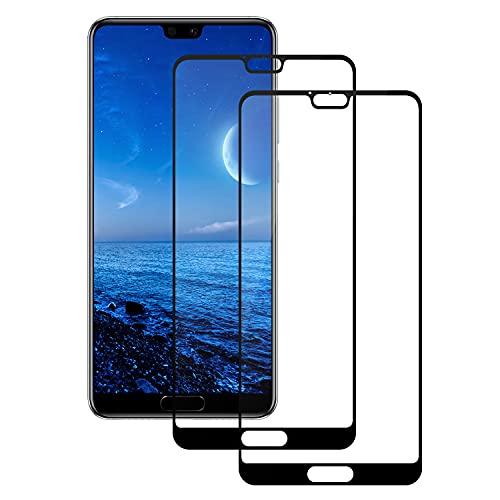PUUDUU Cristal Templado para Huawei P20, [2 Piezas] Cobertura Completa, Anti-rasguños, Sin Burbujas, Película Protectora de Vidrio Templado para Huawei P20