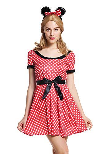 dressmeup - W-0136-M/L Disfraz Mujer Feminino ratón Rojo con Puntos Blancos Talla S/M.