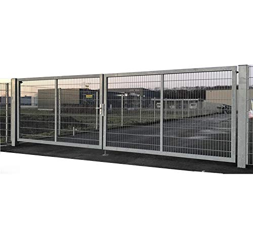 Dubbele vleugelpoort tuinpoort industriepoort mattenpoort inbouwbreedte 800 cm x hoogte 200 cm inrijstpoort voor industrie met bijzonder stabiel frame 100 x 40 mm/palen 120 x 120 mm