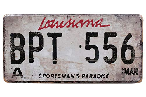Louisiana BPT USA Rural Vintage Metal Tin Sign, Retro 3D Embossed License Plates, Garage Home Bar Wall Decor