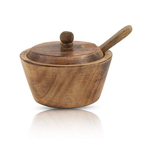 Dekoracyjna rustykalna drewniana miska na cukier i łyżka z pokrywką szeroki otwór słoik na słodycze przyprawy uchwyt na słoik na przyprawy orzechy do serwowania miska na sól przyprawy zioła luźny liść pojemnik do przechowywania herbaty nowość dom i kuchnia
