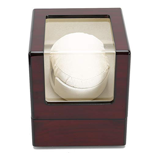 Caja de enrollador de reloj individual,caja de presentación de enrollador de reloj automático de fibra de carbono compacta,motor súper silencioso,alimentado por batería y adaptador de CA(EU)