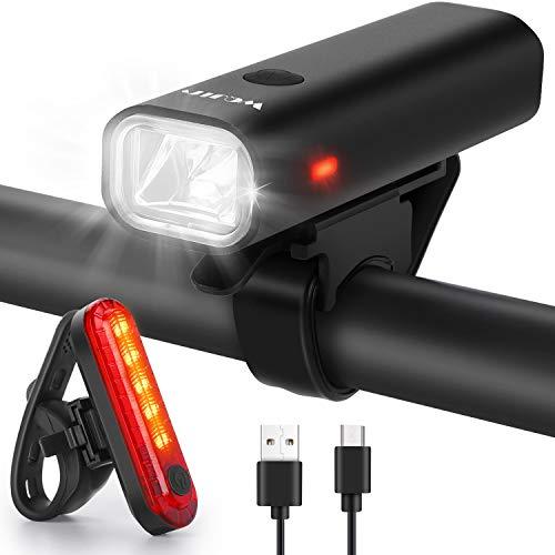 WQJifv Fahrradlicht LED Set, StVZO Zugelassen USB Wiederaufladbare Fahrradbeleuchtung fahrradlichter Set, Wasserdicht Frontlicht und Rücklicht Set Licht für Fahrrad Fahrradlichter
