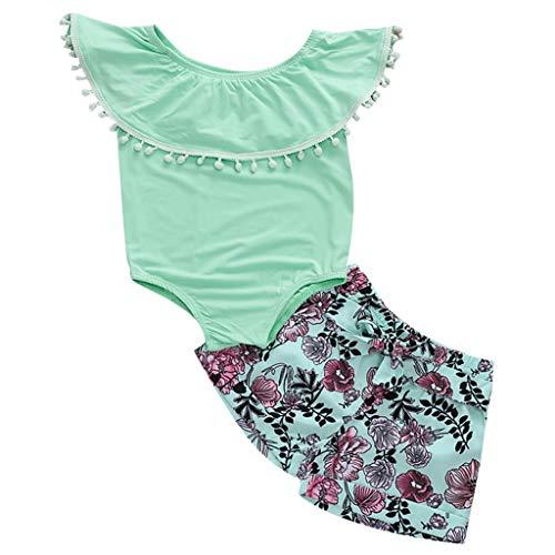 Moneycom - Conjunto de ropa para bebé y niña con volantes para verano, diseño floral, tul chic y ceremonia de boda, color verde Vert 2 18-24 Meses