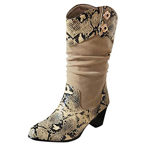 Best Review Of Kiminana Autumn Stitching Snakeskin Pattern Boots High Shoes Boots Snakeskin Pattern ...