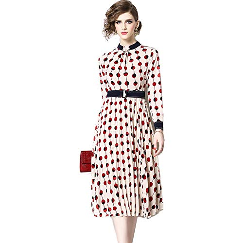 QUNLIANYI Kleider Lang Elegante Polka-Dot Print Kleid Mit Gürtel Frauen Kontrast Farbe Nähen...