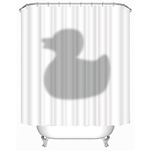 Sunshine Duschvorhang 3D Ente Badewannenvorhang mit 12 Duschvorhangringe Anti schimmel wasserdicht (180 * 200cm)