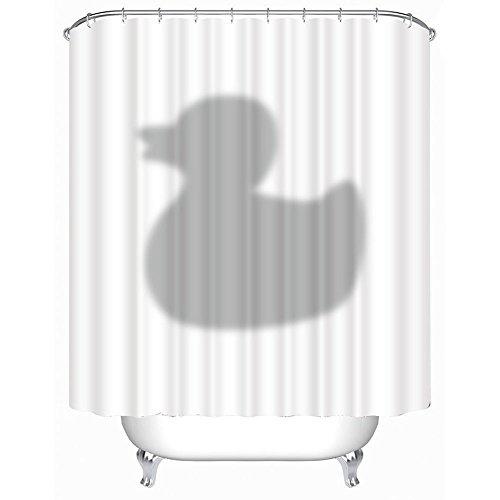 Duschvorhang 3D Ente Badewannenvorhang mit 12 Duschvorhangringe anti schimmel wasserdicht (180*200cm)