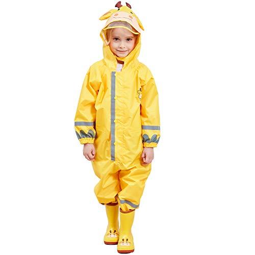 Bwiv Regenmantel Kinder Wasserdicht Atmungsaktiv Regenanzug Einteilig Jungen Mädchen Regenjacke mit Reflektor Leicht Overall ohne Geruch 3-10 Jahre Gelb M