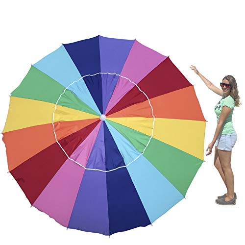 EasyGo 8 Foot HEAVY DUTY HIGH WIND Beach Umbrella - Giant 8' Beach Umbrella with Sand Anchor & Carrying Bag -Sturdy Pole
