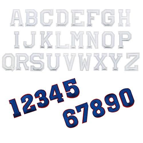 Woohome Patch Sticker, 36 Pz Letras Inglesas Digital Parche Termoadhesivo Parche de Hierro en Patches para Mochila, Gorras, Ropa (Azul y Blanco)