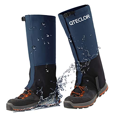 QTECLOR Leg Gaiters Waterproof Snow Boot Gaiters for Snowshoeing, Hiking, Hunting, Running, Motorcycle Anti-Tear Oxford Fabric, TPU Instep Belt Metal Shoelace Hook for Outdoor (Blue, XL)