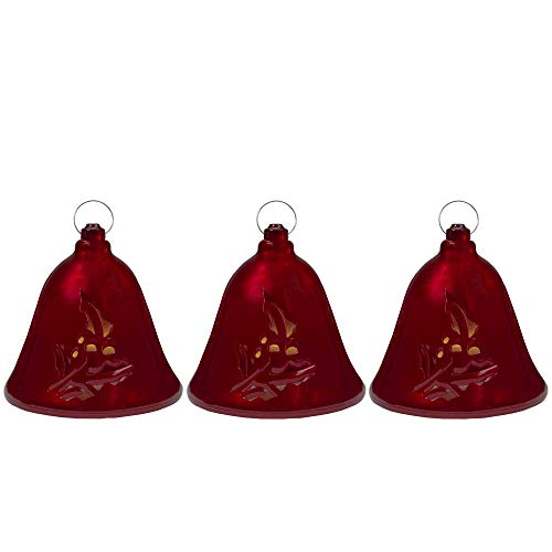 Northlight Set of 3 Musical Lighted Red Bells Christmas Decorations, 6.5-Inches