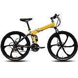 YDBET Las Bicicletas Plegables Bicicletas de montaña MTB Road 27 Doble Velocidad de suspensión de Bicicleta de montaña con Marco de Fibra de Carbono con Frenos de Disco Choques,Amarillo,26Inch