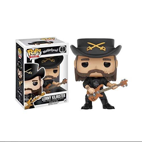 MXD POP Figuren Lemmy Kilmister Singer Star mit Gitarre Heavy Metal Musiker Sammler Figur Puppe Ornamente, Mehrfarben-