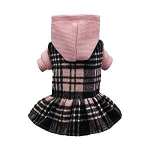 Fitwarm Knitted Plaid Dog Dress Hoodie Sweatshirts Pet Clothes Sweater Coats Cat Outfits Pink XS