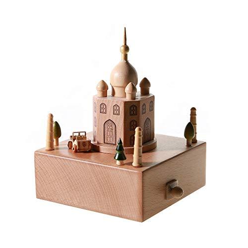 DKEE decoración Taj Mahal Caja de música de Madera Clockwork Drive Haya Niños Manualidades Regalos creativos Regalo de cumpleaños Música Pura