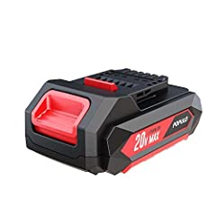 20V Max 1500mAh Lithium-Ion Battery: 100% compatible with populo tools, suitable for the 20v Populo Drill Driver Kit, 20v Cordless Impact Driver Kit, 20v Drain Auger Kit and so on. It brings with long lasting power for a variety of applications aroun...