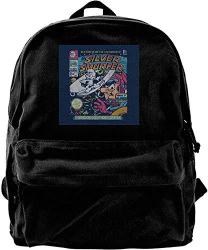 Yuanmeiju Canvas Rucksack Silver Smurfer Die Schlümpfe Silver Surfer Rucksack Fitnessstudio Wandern Laptop Umhängetasche Daypack für Männer Frauen