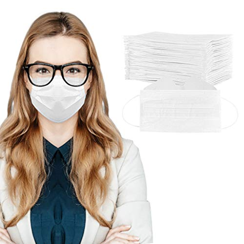 50/100 Pcs 3-Ply Disposable Face Macks, Anti-Fog Face Shield for People Who Wear Glasses, Latest Technology (50, White)