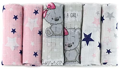 Mulltücher - Mullwindeln - 6er Pack 70x80 cm - Stoffwindeln, MADE IN EU, schadstoffgeprüft - Spucktücher Set für Mädchen – Baby Mullwindeln- Rosa - OEKO-TEX zertifiziert