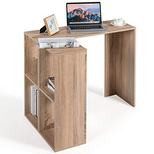 GIANTEX Schreibtisch mit L-Form, Eckschreibtisch Computertisch mit Bücherregal, Holz Bürotisch Ecktisch für Arbeitszimmer, Wohnzimmer