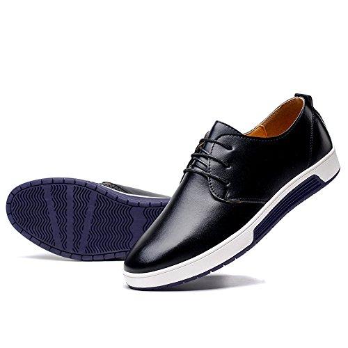 konhill Men's Casual Oxford Shoes Breathable Flat Fashion Lace-up Dress Shoes,Black,48