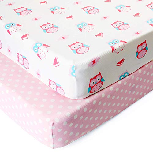 BORITAR Crib Sheets Soft Stretchy Jersey Knit 2 Pack, Semi-Waterproof Portable Mattress Covers for Girls with Pink Owl and Dot Printed
