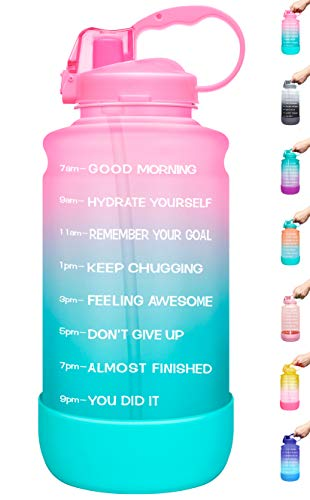 Elvira Large 1 Gallon/128 oz Motivational Time Marker Water Bottle with Straw & Protective Silicone Boot, BPA Free Anti-slip Leakproof for Fitness, Gym and Outdoor Sports-Light Pink/Green Gradient