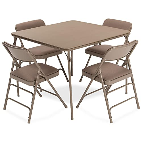 EventStable Titan Series Beige Folding Card Table and Beige Fabric Metal Folding Chair Set - 5 Pieces