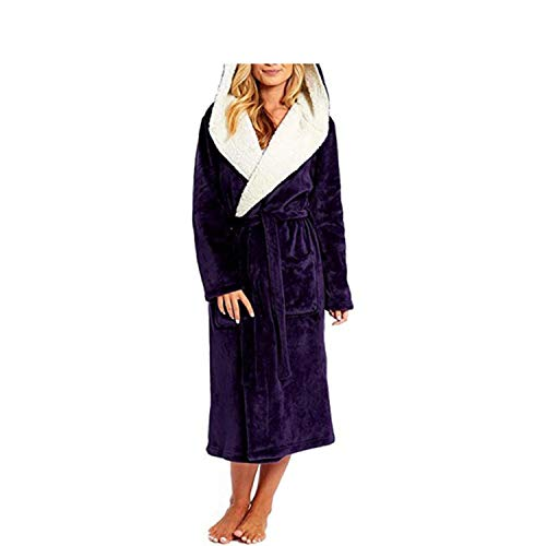 Winter Plush Lengthened Shawl Soft Bathrobe with Hood Women Nightgown Home Clothes Warm Bath Robes Dressing Gowns Robe Coat #y3,Purple,S