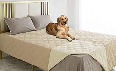 Ameritex Waterproof Dog Bed Cover Pet Blanket with Anti-Slip Back for Furniture Bed Couch Sofa (52x82 Inches, Beige)
