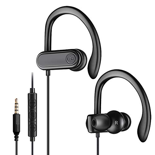 Sport Headphones with Microphone, Running Earbuds with Wrap-Around Ear Hooks, Ideal for for Workout Gym Exercise, Wired Earphones with 3.5mm Plug Compatible with Smartphone Tablet PC, CGS-W3