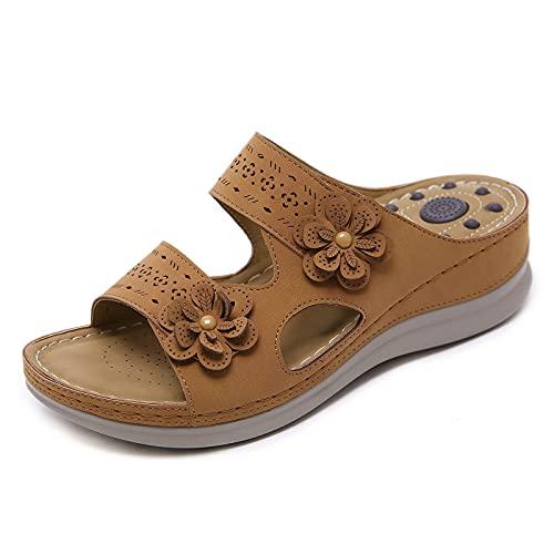 TTCS Zapatillas De Masaje Mujer Cuña Zapatos De Boca con Partículas De Masaje,Puede Aliviar Eficazmente La Fatiga De Caminar,Brown,38