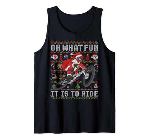 Oh ¿Qué divertido es montar bicicleta de montaña MTB fea Navidad Camiseta sin Mangas